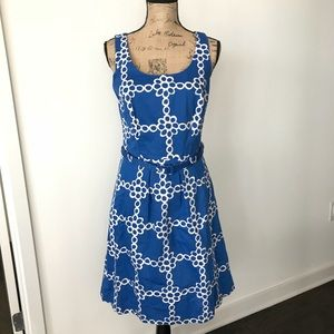 Boden Ava Belted Floral Chain Pattern Dress Size 6
